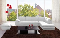Sorrento Leather Sectional / White