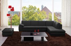 Sorrento Leather Sectional / Black