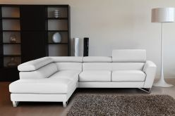 Novo Leather Sectional / White