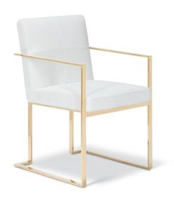 Parker Arm Chair / White - Gold