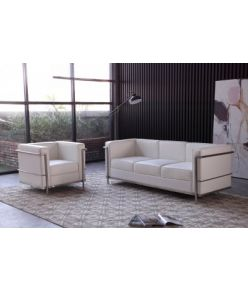 Kent Leather Sofa / White