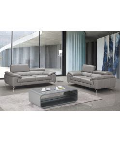 Lara Leather Sofa / Light Grey