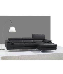 Clara Leather Sectional / Black