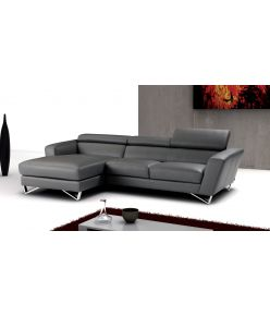 Ivy Leather Sectional / Grey