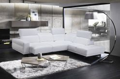 Isabel Leather Sectional / White