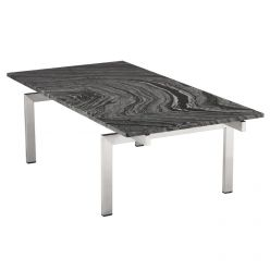 Louve Coffee Table Rectangular Stainless / Black