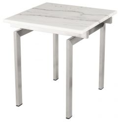 Louve Side Table Stainless / White