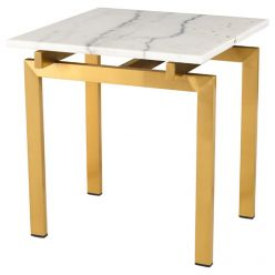 Louve Side Table Gold / White