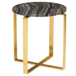 Rosa Side Table Gold / Black Wood Vein