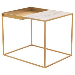 Corbett Side Table Brushed Gold / White