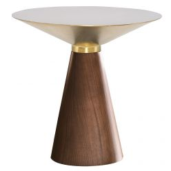 Iris Side Table Medium Walnut / Brushed Gold