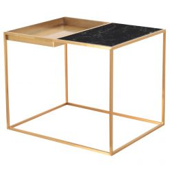 Corbett Side Table Brushed Gold / Green