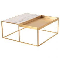 Corbett Coffee Table Brushed Gold / White Square