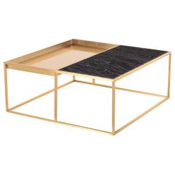 Corbett Coffee Table Brushed Gold / Black Square