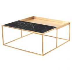 Corbett Coffee Table Brushed Gold / Green Square