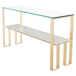 Tierra Console Table Gold / White