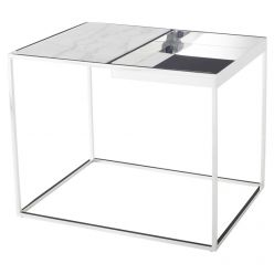 Corbett Side Table Polished Steel / White