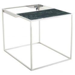 Corbett Side Table Polished Steel / Green