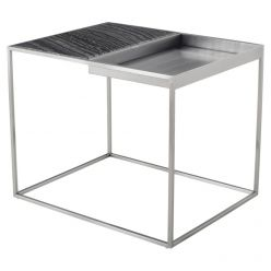 Corbett Side Table Brushed Steel / Black