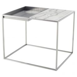 Corbett Side Table Brushed Steel / White