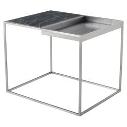 Corbett Side Table Brushed Steel / Green