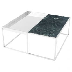 Corbett Coffee Table Polished Steel / Green Square