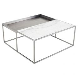 Corbett Coffee Table Brushed Steel / White Square