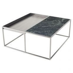 Corbett Coffee Table Brushed Steel / Green Square
