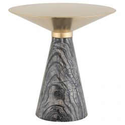Iris Side Table Large Black / Brushed Gold