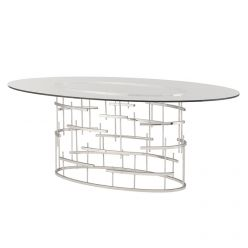 Tiffany Oval Dining Table / Silver