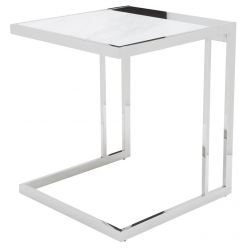 Ethan Side Table Stainless / White