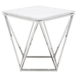 Jasmine Side Table Stainless / White