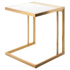 Ethan Side Table Gold / White