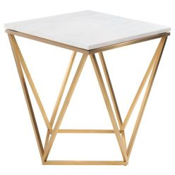Jasmine Side Table Gold / White