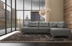 Madison Leather Sectional / Grey