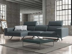 Rome Leather Sectional / Gray