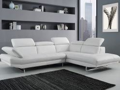 Cadiz Leather Sectional / White