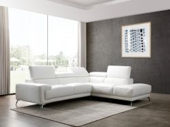 Anita Leather Sectional / White