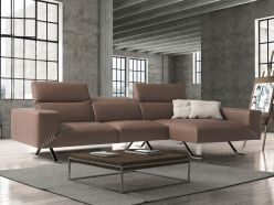 Rome Leather Sectional / Taupe
